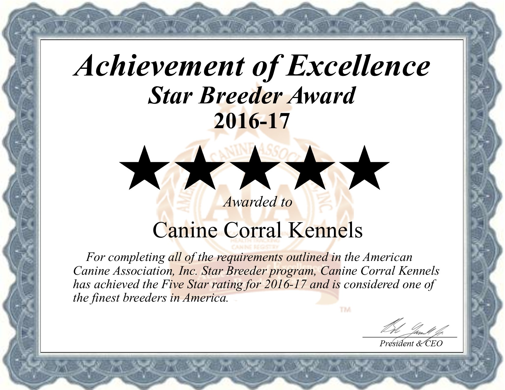 Canine, Corral, kennels, certificate, canine-corral-kennels